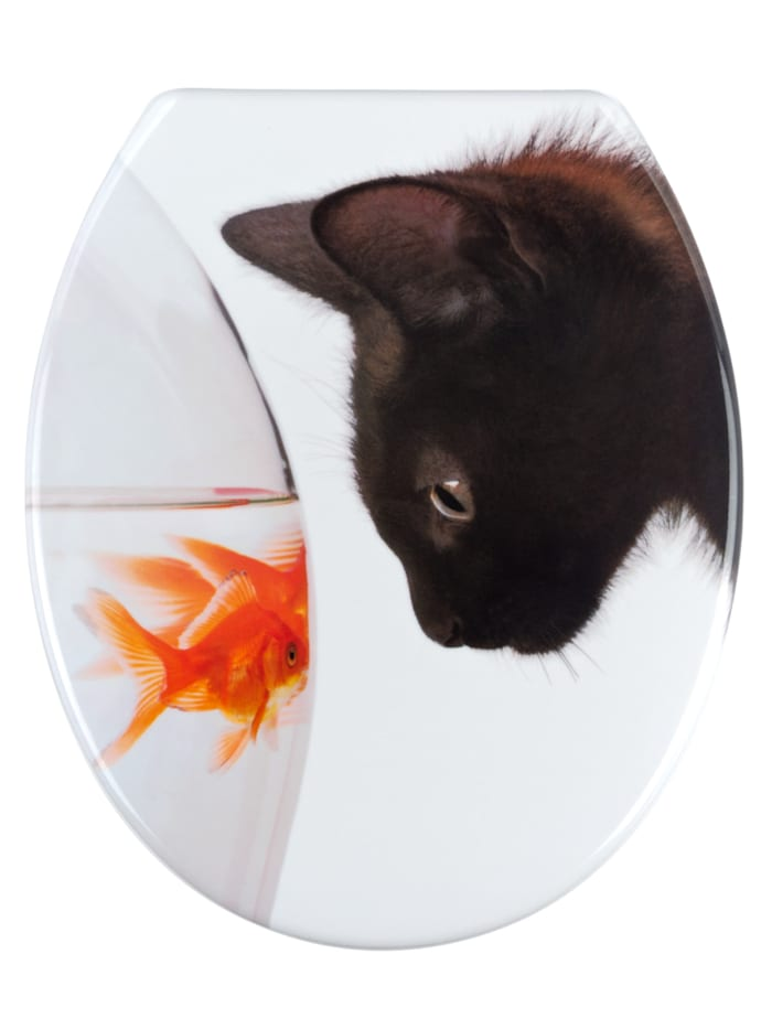 Wenko WC-Sitz Fish & Cat, aus antibakteriellem Duroplast, Mehrfarbig, Befestigung: Silber matt