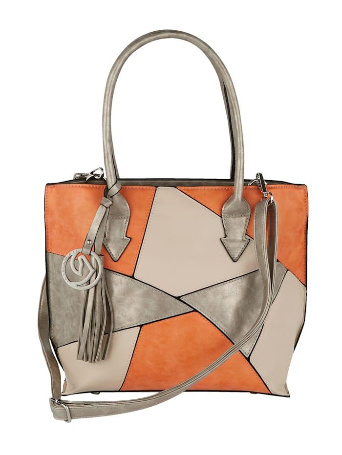 Remonte Shopperset in patchworklook 3-delig, oranje/zand gecombineerd
