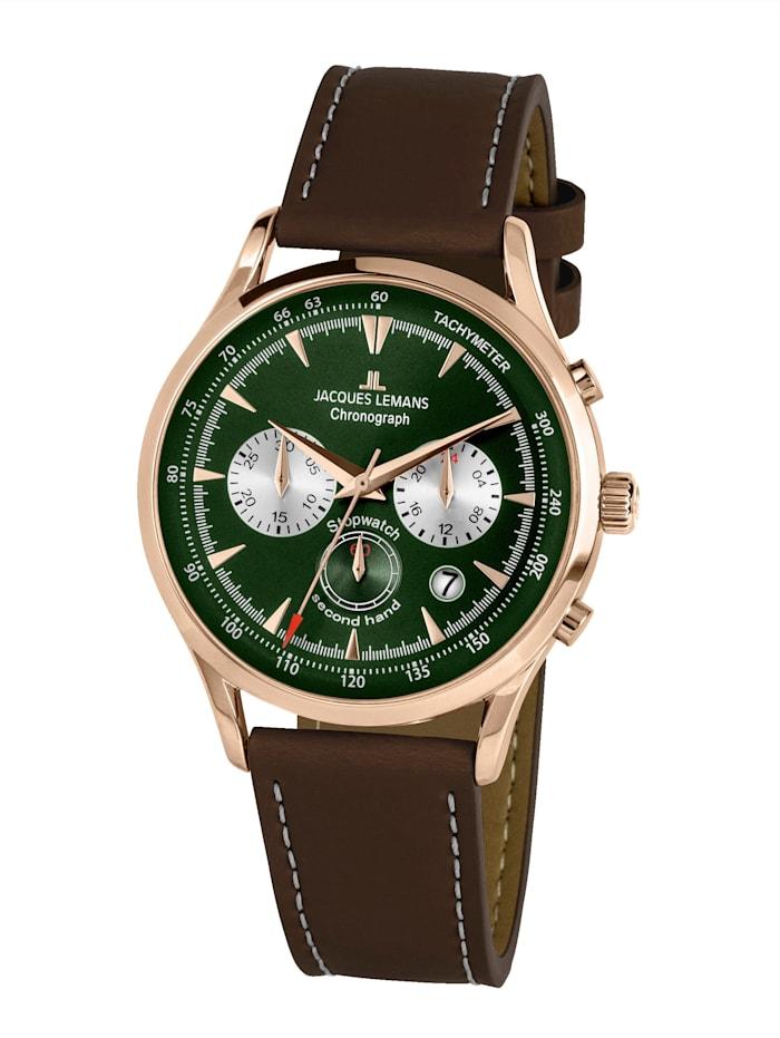 Jacques Lemans Herren-Uhr Chronograph Serie: Retro Classic, Kollektion: Retro Classic: 1- 2068H, Dunkelbraun