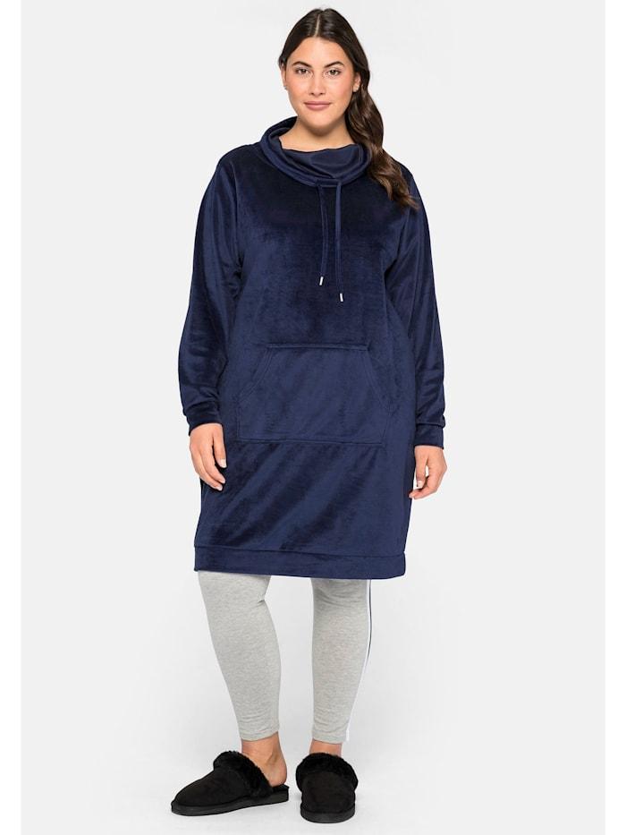 Sheego Kleid in Nicki-Qualität mit weitem Kragen, marine