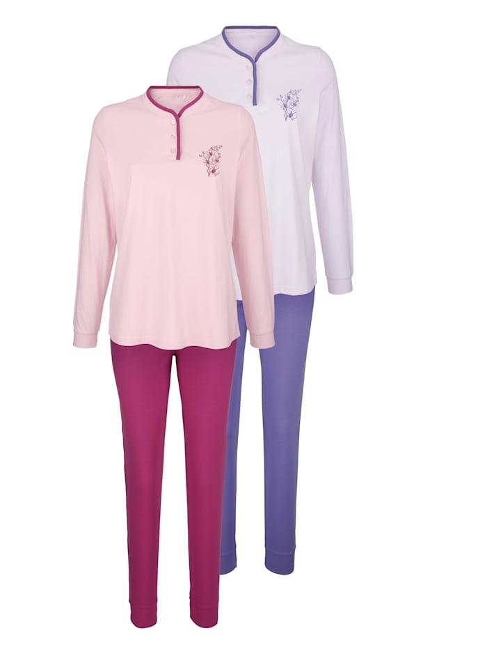 Harmony Pyjama met bloemenmotief, Lila/Fuchsia