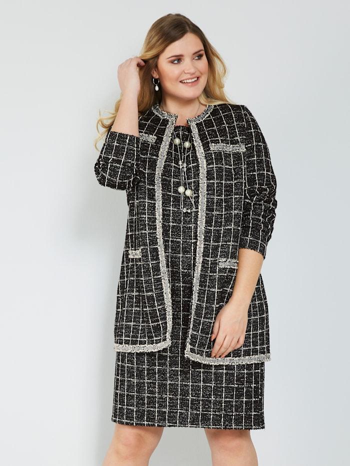 Sara Lindholm Robe manteau in bouclélook, Zwart/Offwhite