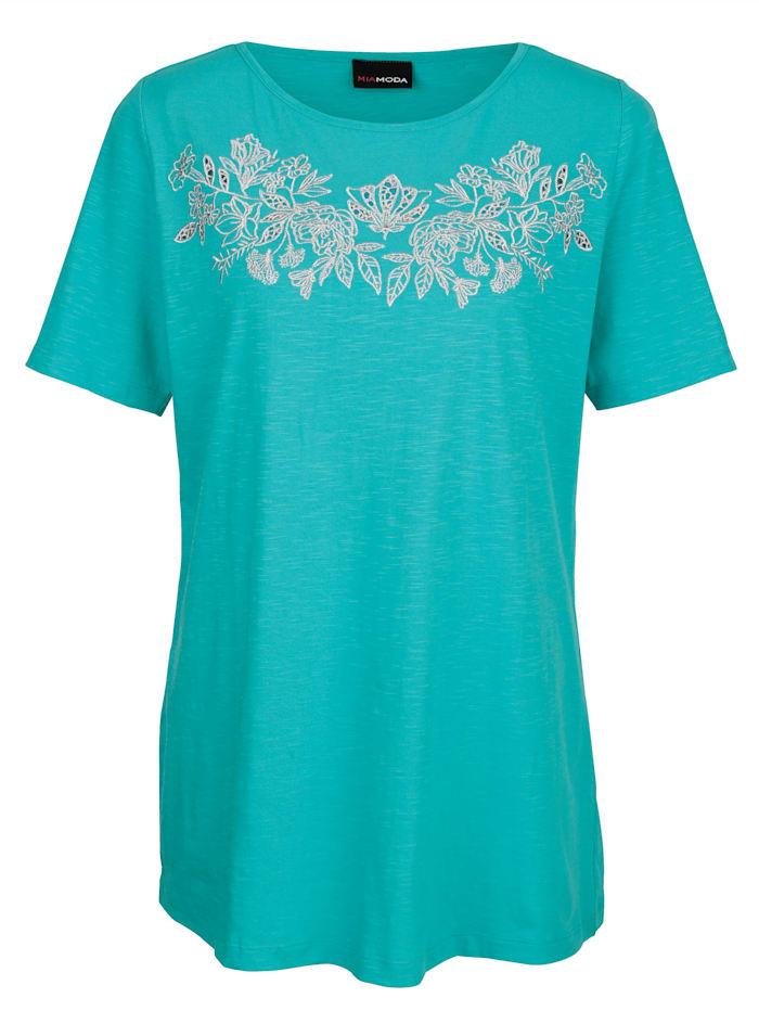Shirt mit silberfarbener Stickerei im Vorderteil
