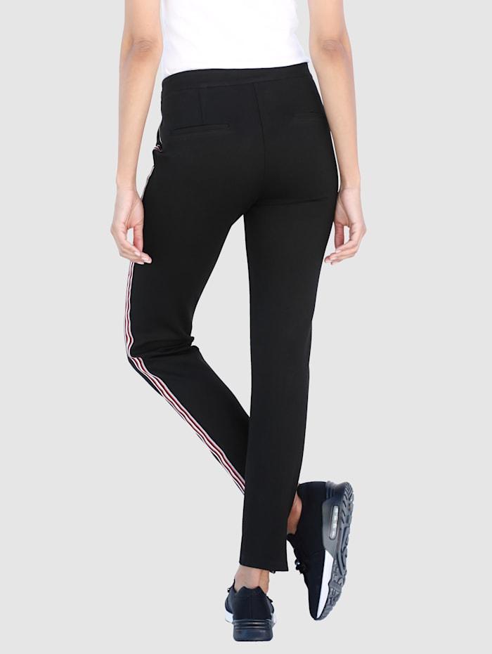 Laura Kent Pantalon à bandes reps contrastantes, Noir
