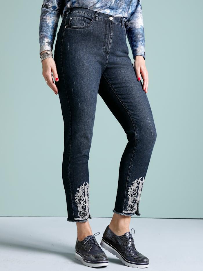 MIAMODA Jeans met contrastkleurig borduursel aan de zoom, Blue stone