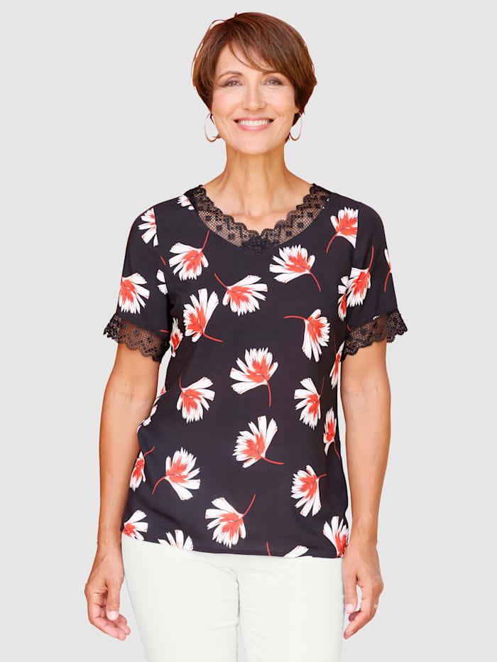 Paola Blusetopp med trykt blomstermønster, Svart