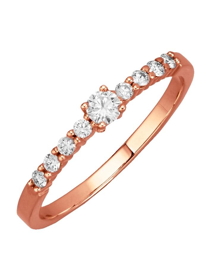 Diemer Diamant Damenring mit lupenreinen Brillanten, Rosé