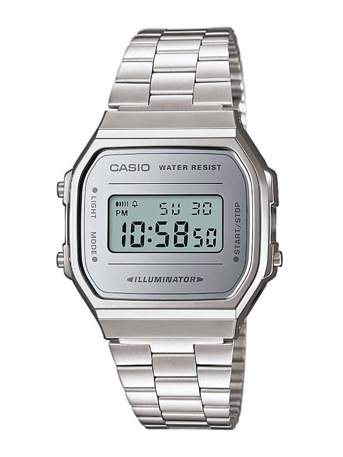 Casio Unisexuhr-Chronograph A168WEM-7EF, Silberfarben
