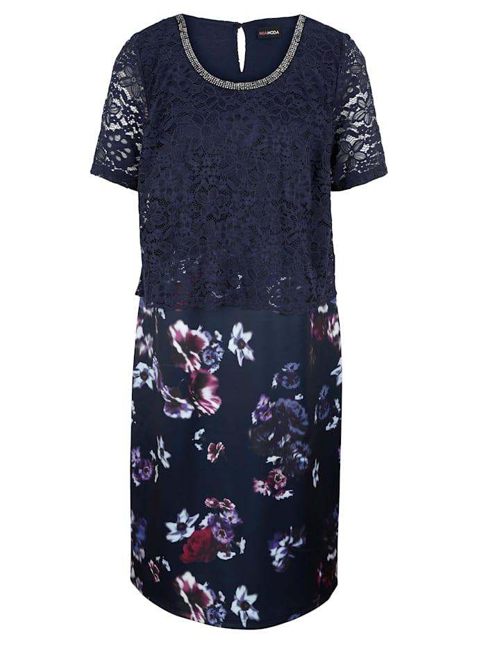 MIAMODA 2-in-1 Kleid mit Spitzenoberteil und floral bedrucktem Rock, Marineblau/Beere