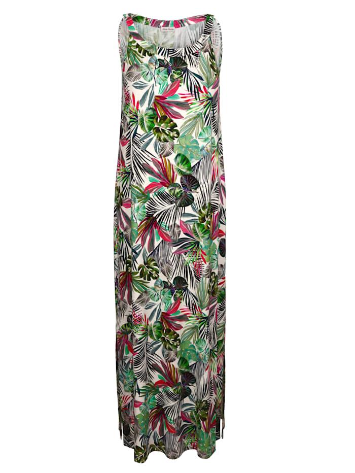 Alba Moda Strandjurk met bladerenmotief, wit/multicolor