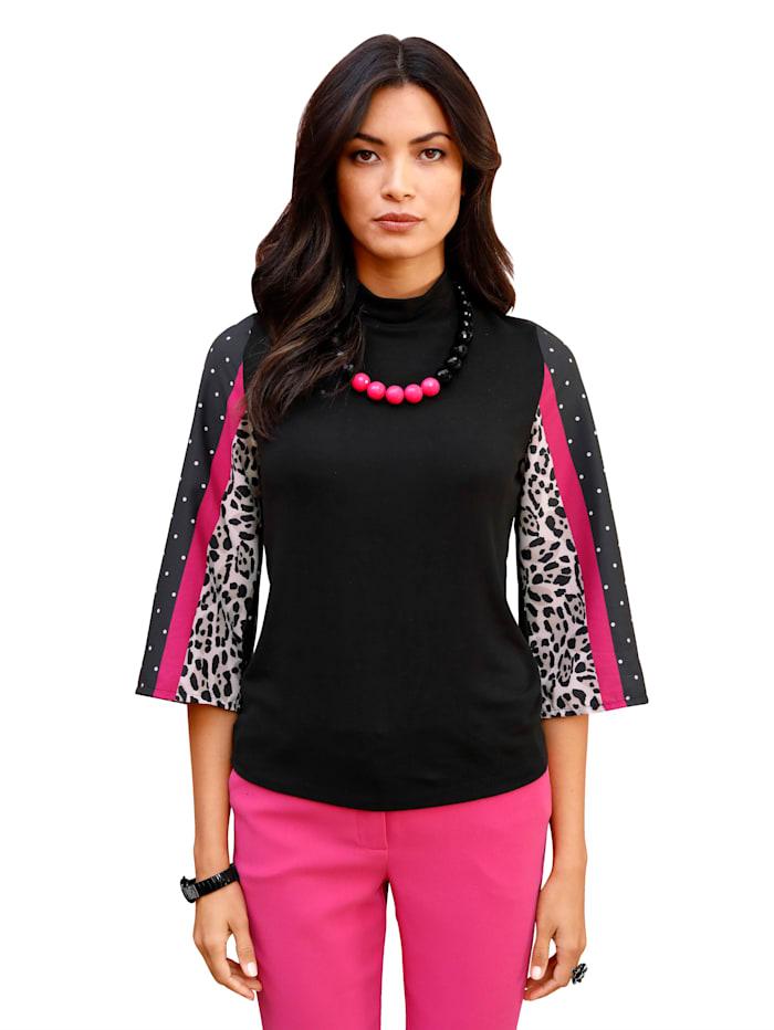 AMY VERMONT Pullover mit Ärmeln aus Chiffon, Schwarz/Pink