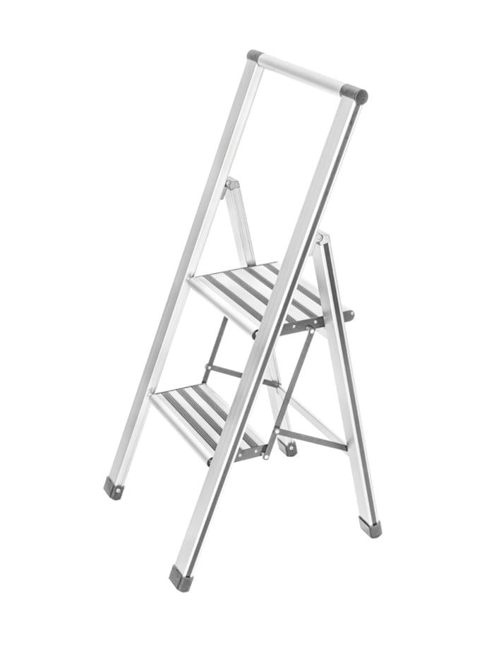Wenko Alu-Design Klapptrittleiter 2-stufig Weiß, rutschfeste Haushaltsleiter, Sicherheits-Stehleiter, Leiter: Weiß, Kappen: Grau