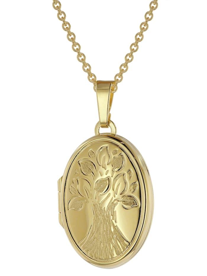 trendor Medaillon mit Kette Gold plattiertes 925 Silber, Goldfarben
