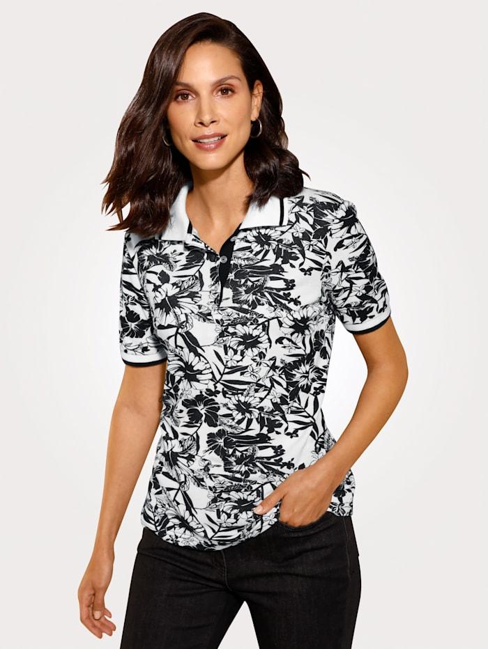 MONA Poloshirt im Floraldessin, Schwarz/Weiß