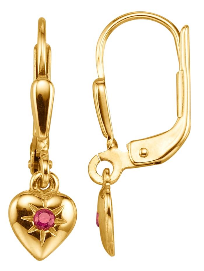 Herz-Ohrringe mit Rubinen, Gelb