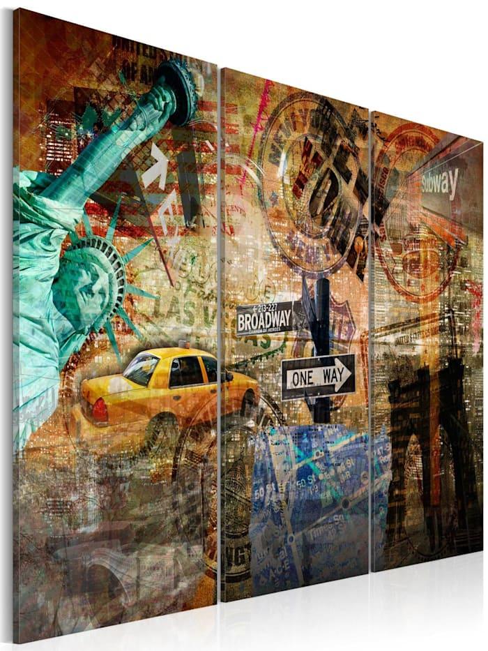 artgeist Wandbild Das Wesen von NYC, Orange,Braun,Blau,Türkis