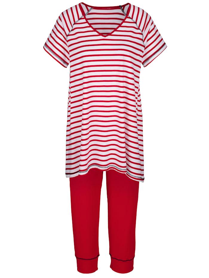 Simone Pyjama met streeppatroon, Rood/Wit