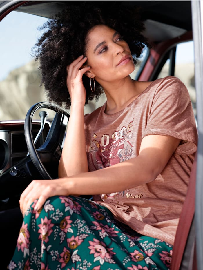 Angel of Style Shirt mit floralem Motiv, Altrosa