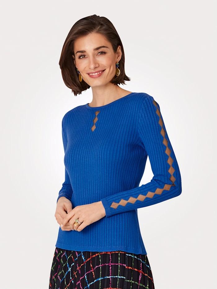 MONA Pullover mit transparentem Netzeinsatz, Royalblau