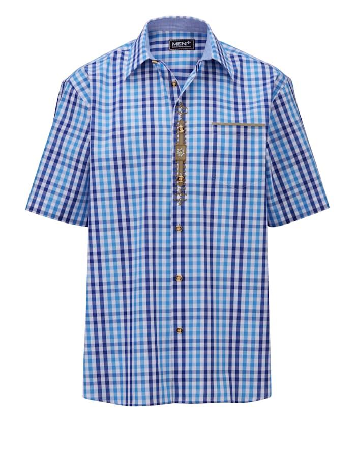 Men Plus Overhemd, Marine/Blauw/Wit
