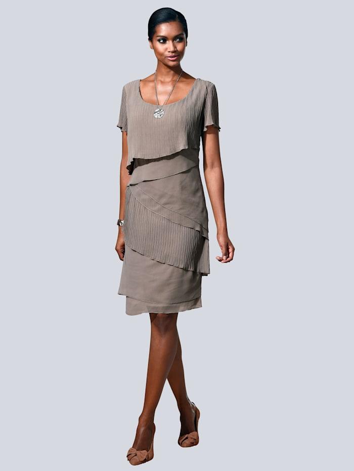 Alba Moda Kleid in modischem Lagenlook, Taupe