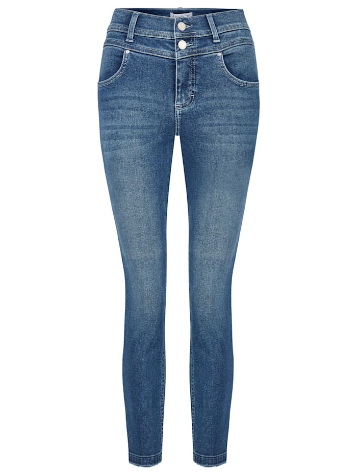 Angels Jeans 'Ornella Button Fringe' mit Fransen an den Beinsäumen, mid blue used