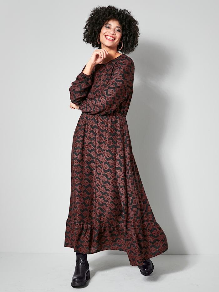 Angel of Style Web-Kleid aus reiner Viskose, Schwarz/Haselnuss