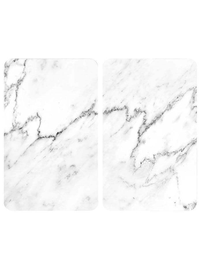 Wenko 2 komfyrdekkplater -Marmor-, Marmormønster, hvit