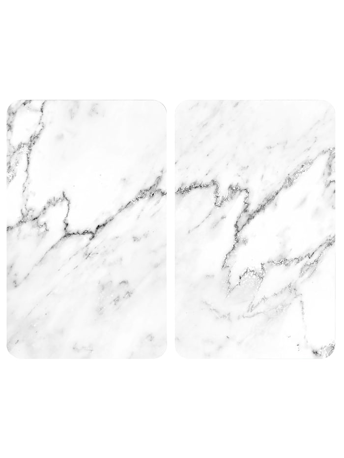 Wenko 2er-Set Herdabdeckplatten 'Marmor-Optik', weiß, Marmor/Weiß