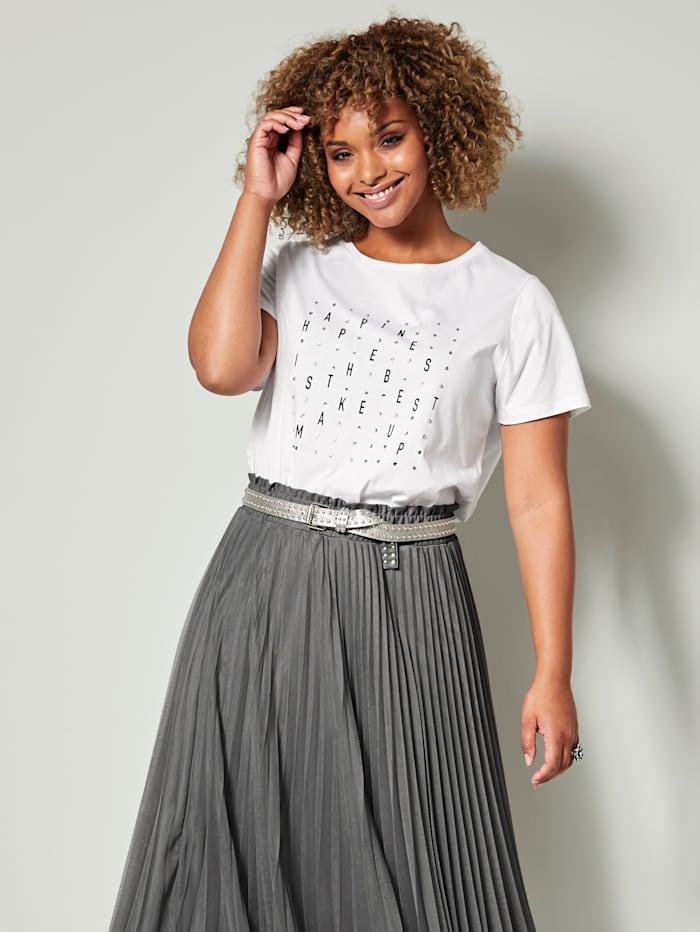 Angel of Style Shirt aus reiner Baumwolle, Weiß/Schwarz