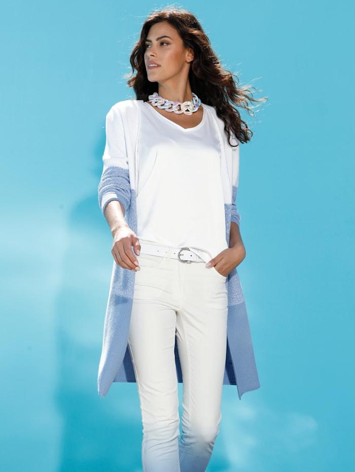 AMY VERMONT Strickjacke mit Farbverlauf, Weiß/Blau