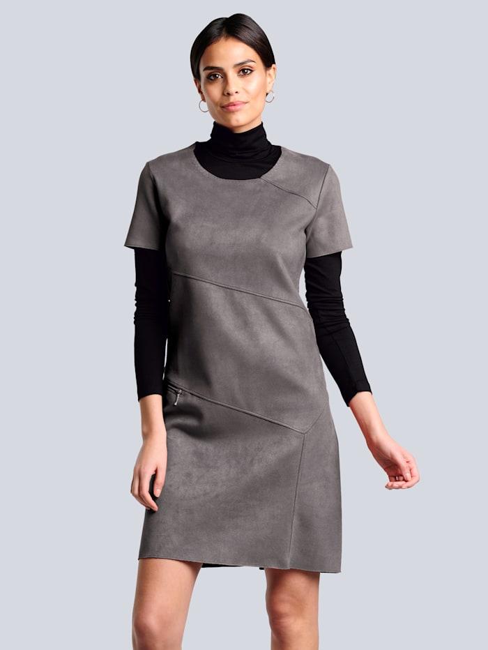 Alba Moda Jerseykleid mit schräg verlaufenden modischen Teilungsnähten, Anthrazit