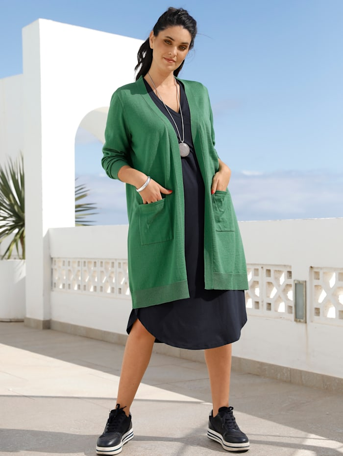 MIAMODA Gilet long en maille à poches pratiques, Vert