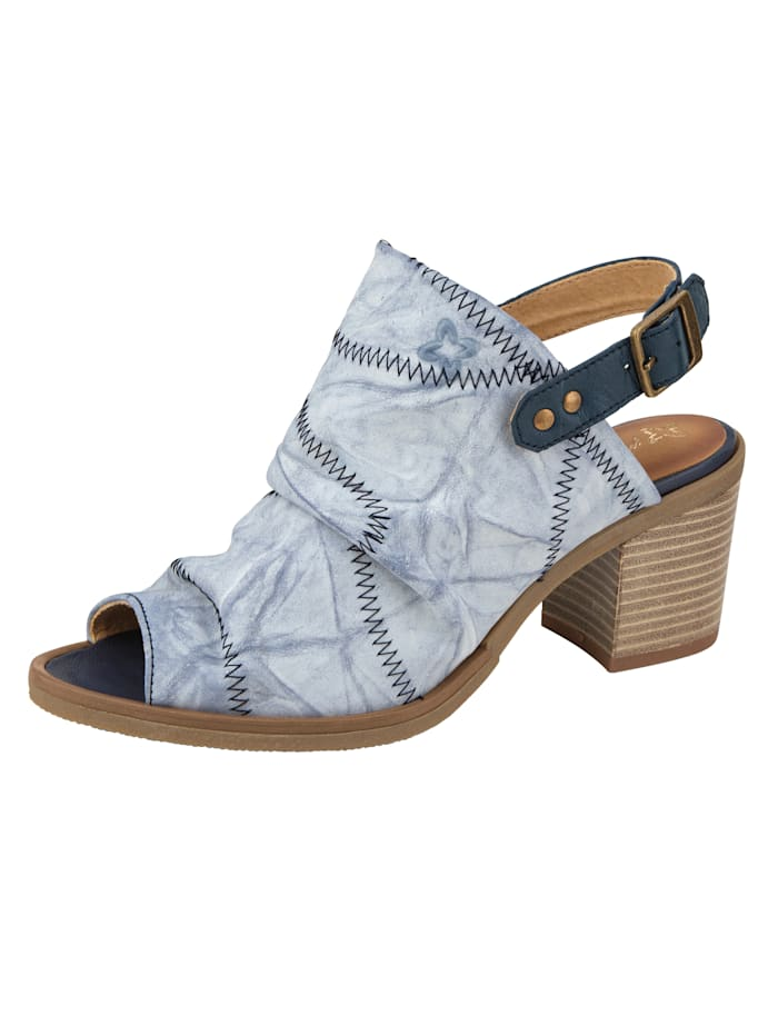 MACIEJKA Sandale mit kontrastfarbigen Ziernähten, Blau