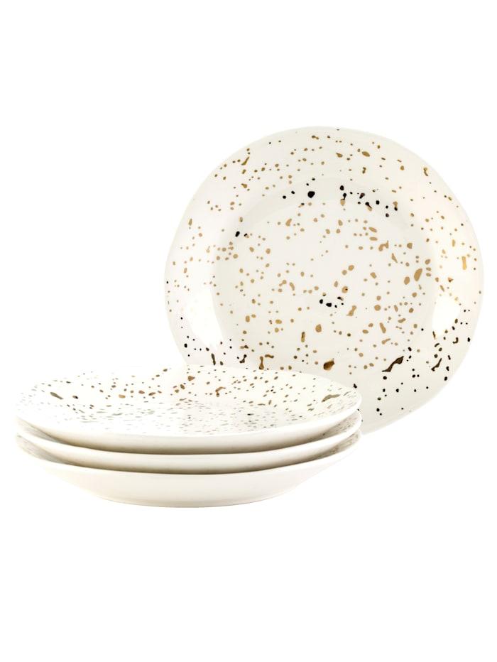 IMPRESSIONEN living Assiettes à dessert, 4 pièces, Blanc/coloris or