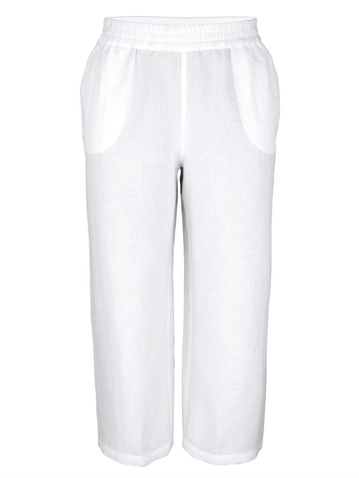 MIAMODA Jupe-culotte en lin mélangé agréable à porter, Blanc