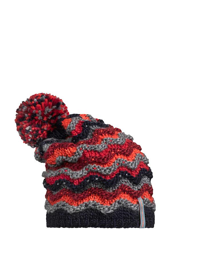 Stöhr HITE - längere Bommelmütze für Kinder mit bunten Ringeln, gefüttert mit Fleece, marine.dunkelrot.orange
