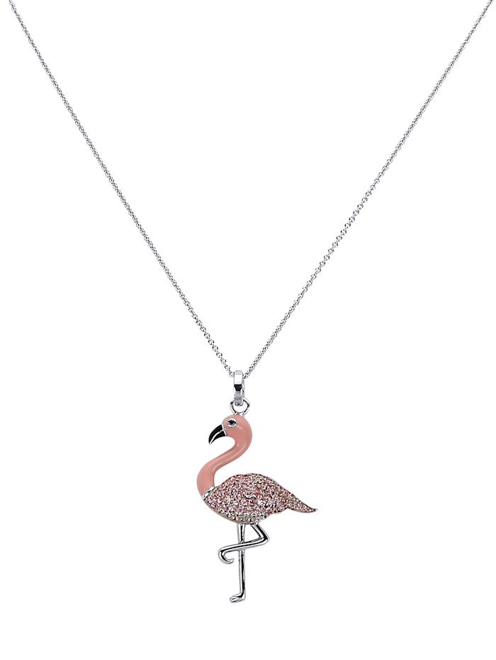 Flamingo-Anhänger mit Kette, Multicolor