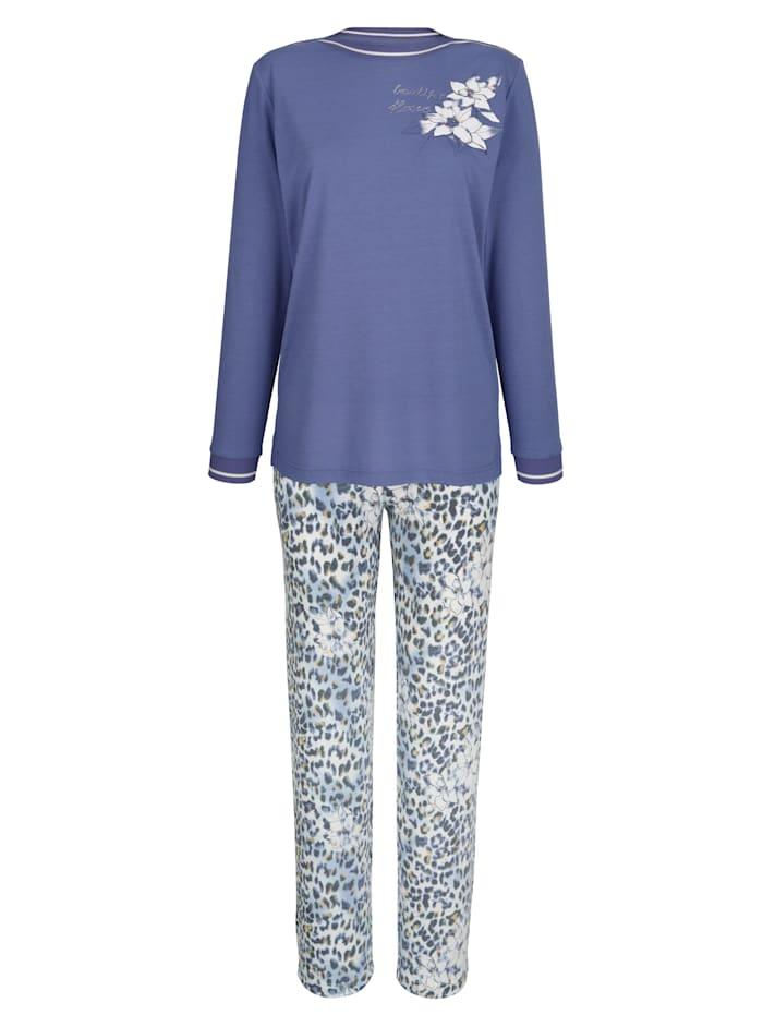 MONA Pyjama met gestreepte zoomboordjes, Blauw/Ecru/Mosterdgeel