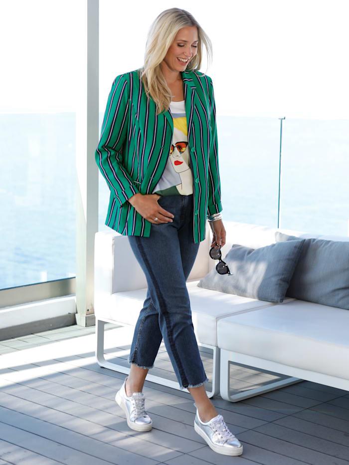 MIAMODA Blazer aus leichter Blusenqualität, Grün/Marineblau
