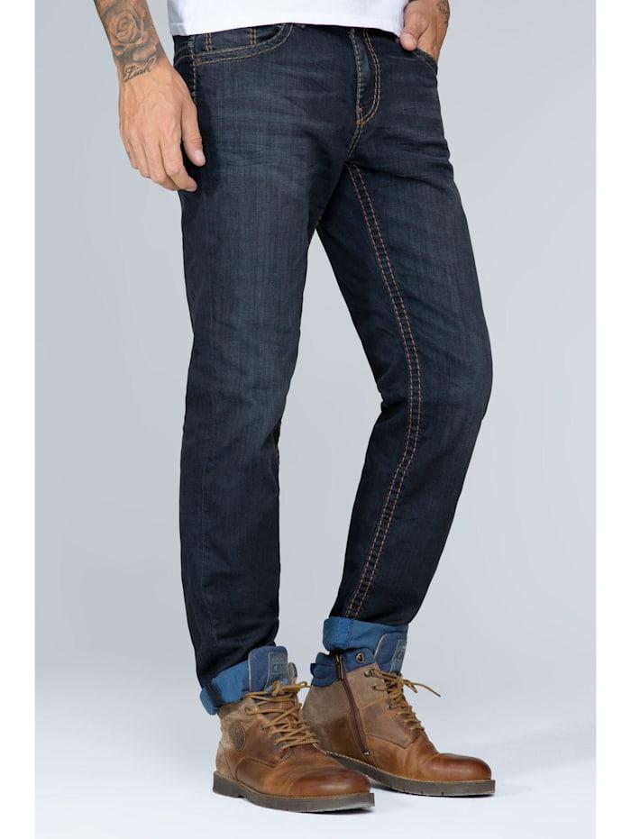 Camp David Jeans CO:NO mit breiten Nähten und gefärbter Innenseite, blue black vintage