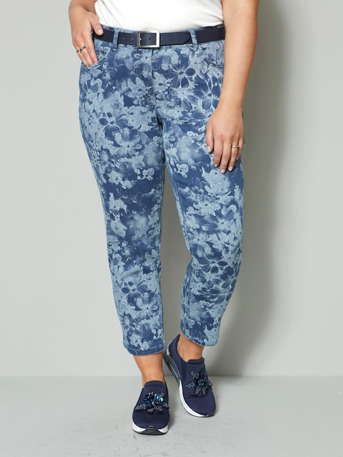Sara Lindholm Jeans mit floralem Druck, Blue stone