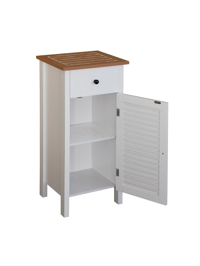 HTI-Line Badezimmerschrank Bambus, Weiß, Braun