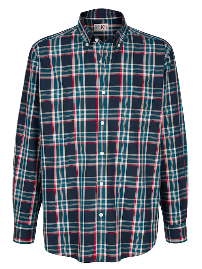 Roger Kent Overhemd met ruitpatroon, Marine/Rood/Wit