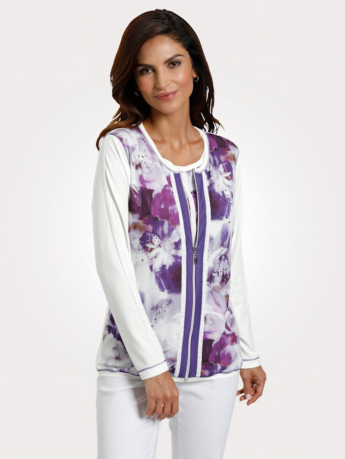 MONA Cardigan, White/Purple