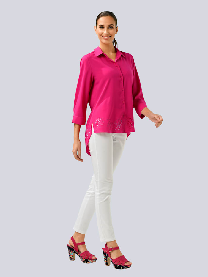 Alba Moda Bluse mit Floralem Lasercut am Saumen, Pink