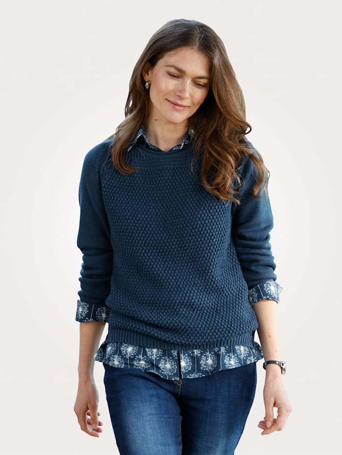 MONA Pullover im Strukturstrickmix, Blau