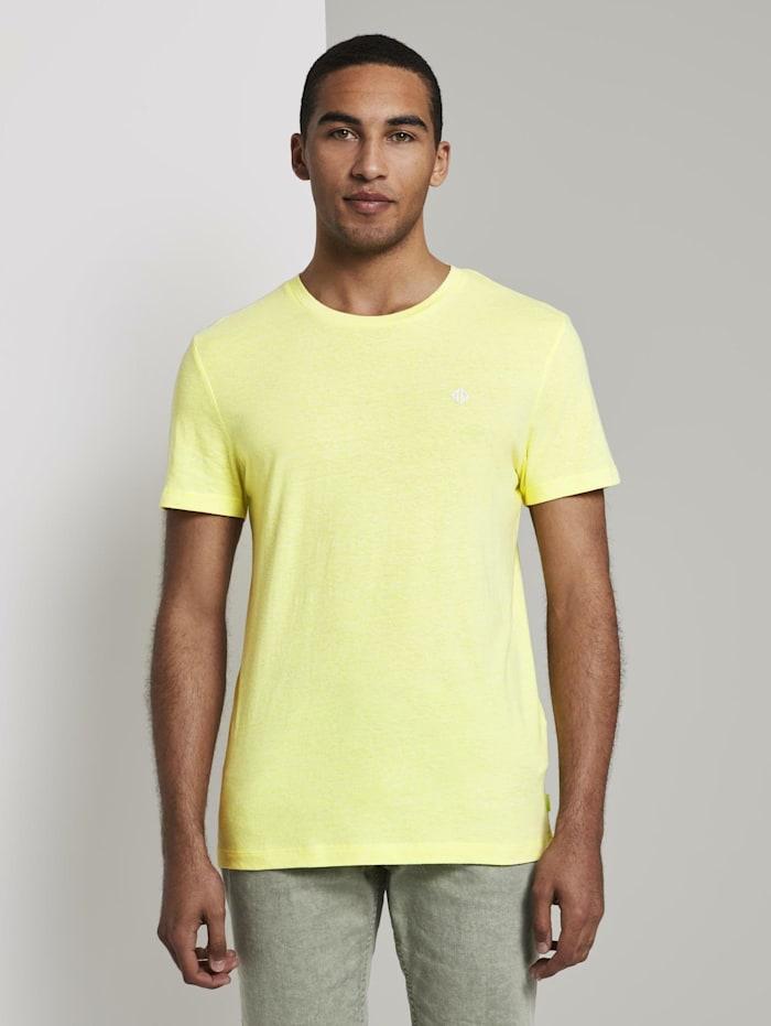 Tom Tailor Denim T-Shirt aus Melange Stoff, canary light white base mel