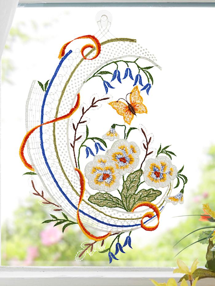Fensterbild 'Stiefmütterchen mit Schmetterling'