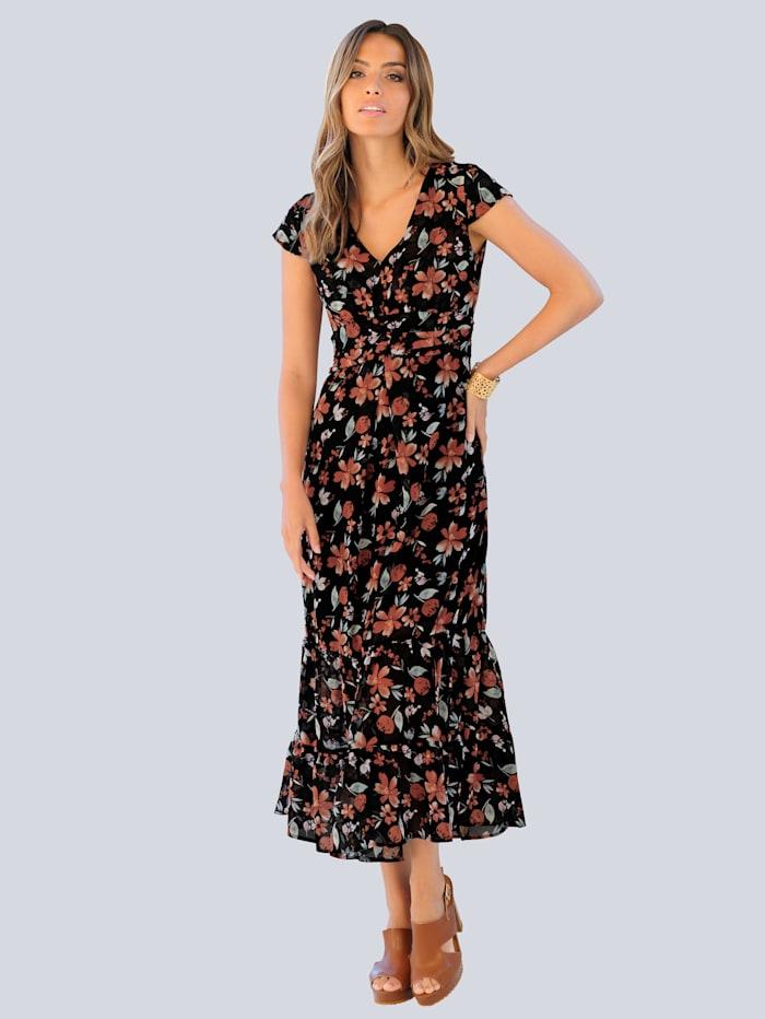 Alba Moda Strandkleid aus leichtem Chiffon, Schwarz
